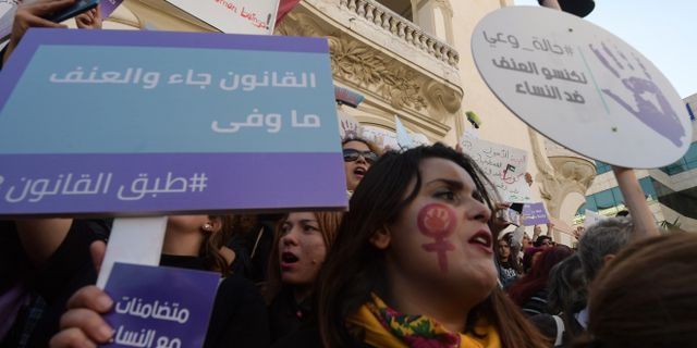Proteströrelsen #EnaZeda i huvudstaden Tunis. FETHI BELAID / AFP