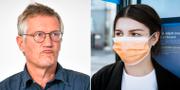 Anders Tegnell och en kvinna i munskydd. TT