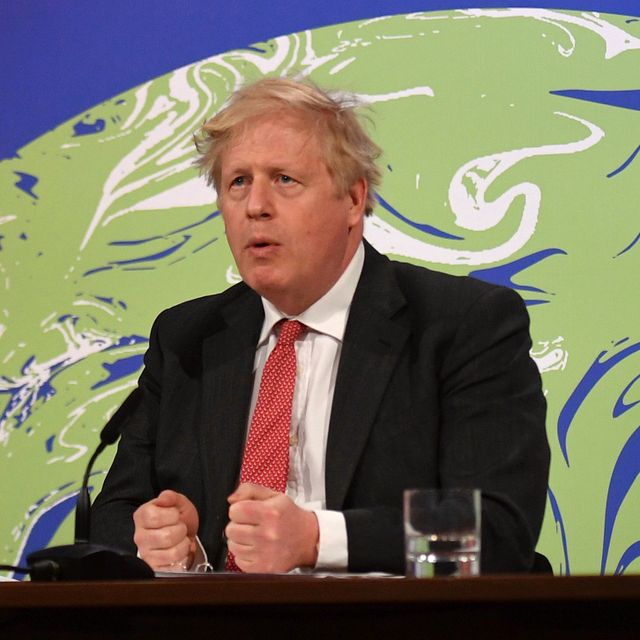 In this April 22, 2021 file photo, British Prime Minister Boris Johnson speaks during the opening session of the virtual global Leaders Summit on Climate, as he sits in the Downing Street Briefing Room in central London. Justin Tallis / TT NYHETSBYRÅN