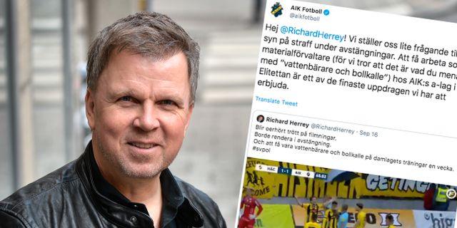 Richard Herrey/AIK Fotbolls tweet. Anders Wiklund/TT / TT NYHETSBYR≈N