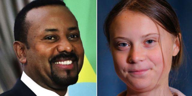 Etiopiens premiärminister Abiy Ahmed och Greta Thunberg är favorittippade till Nobels fredspris.  TT/AP