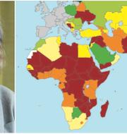Beatrice Arnesson och EKN:s landriskkarta, där Afrika och delar av Asien sticker ut som högriskområden. Pressbilder.