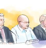 Teckning från rättegången Petra Frid/TT / TT NYHETSBYRÅN