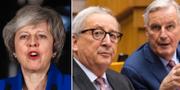 Storbritanniens premiärminister Theresa May, EU-kommissionens ordförande Jean-Claude Juncker samt EU.s brexitförhandlare Michel Barnier.  TT