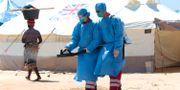 Medicinarbetare sprejar kemikalier för att motverka spridningen av kolera. Tsvangirayi Mukwazhi / TT NYHETSBYRÅN/ NTB Scanpix