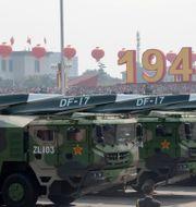 I samband med Kinas 70-årsfirande 2019 visade man upp den nya DF17-missilen. Ng Han Guan / TT NYHETSBYRÅN
