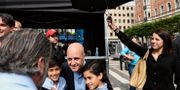Fredrik Reinfeldt (i mitten) i samband med talet, 16 augusti 2014. PONTUS LUNDAHL / TT / TT NYHETSBYRÅN