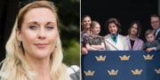 Lisa Bjurwald, styrelseledamot i Republikanska föreningen, samt en bild på några ur kungafamiljen. Arkivbilder. TT