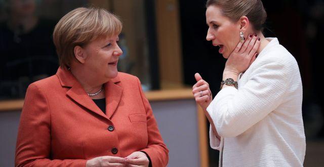 Angela Merkel, tysk förbundskansler, och Mette Frederiksen, dansk statsminister Francisco Seco / TT NYHETSBYRÅN