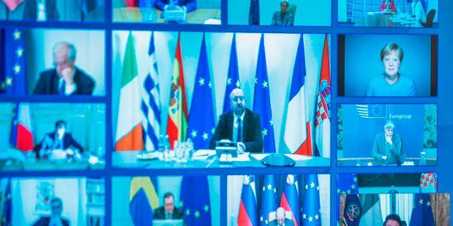 I slutet av mars höll EU-ledarna ett videomöte också.  HANDOUT / TT NYHETSBYRÅN