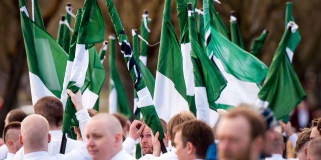 Nazistiska Nordiska motståndsrörelsens (NMR) på demonstration i Borlänge. Arkivbild. Ulf Palm/TT / TT NYHETSBYRÅN