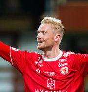 Geir Herrem firar sitt mål.  AXEL BOBERG / BILDBYRÅN