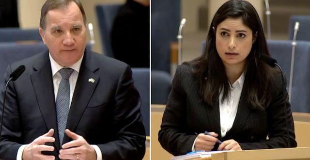 Statsminister Stefan Löfven och V-ledaren Nooshi Dadgostar. SVT