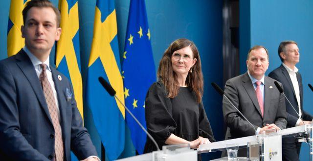 Bild från pressträffen. Anders Wiklund/TT / TT NYHETSBYRÅN