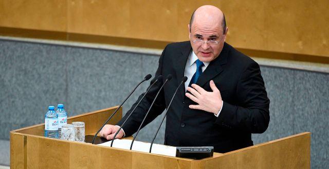 Michail Misjustin i samband med att han valdes idag. ALEXANDER NEMENOV / AFP