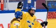 Erika Grahm firar ett mål. CLAUDIO BRESCIANI / TT / TT NYHETSBYRÅN