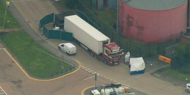 Lastbilen som hittades utanför London. UK Pool / TT NYHETSBYRÅN