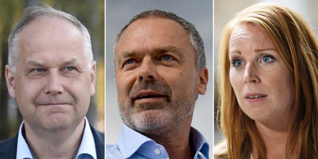 Jonas Sjöstedt (V), Jan Björklund (L) och Annie Lööf (C).  TT