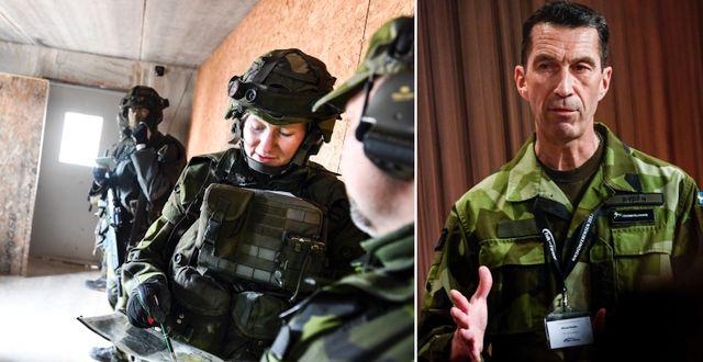 Soldater och ÖB Micael Bydén. TT