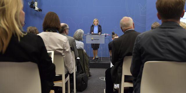 Magdalena Andersson på morgonens pressträff. Jessica Gow/TT / TT NYHETSBYRÅN