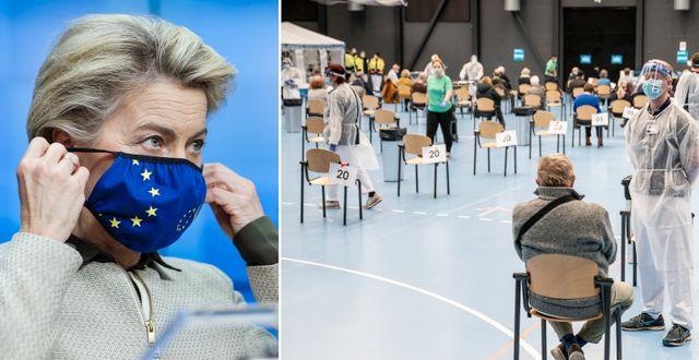 Ursula von der Leyen/Vaccinationslokakl i Danmark.  TT