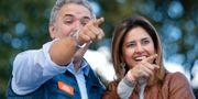 Ivan Duque och hustrun Maria Juliana Ruiz på ett kampanjmöte. Fernando Vergara / TT / NTB Scanpix
