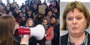 Manifestation efter den misstänkta våldtäkten i Fittja/domare Erica Hemtke. TT