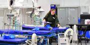 Det nya fältsjukhuset i Älvsjö. Jonas Ekströmer/TT / TT NYHETSBYRÅN