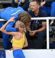 Tilde Johansson under Finnkampen på Stockholms stadion. Henrik Montgomery/TT / TT NYHETSBYRÅN