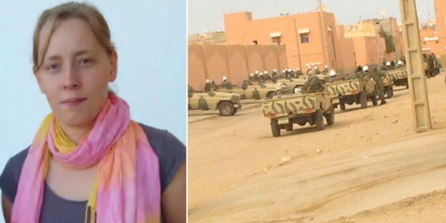 T.v: Tove Liljeholm (V). T.h: Polispatruller under demonstration i Västsahara 2005. Emmaus, TT