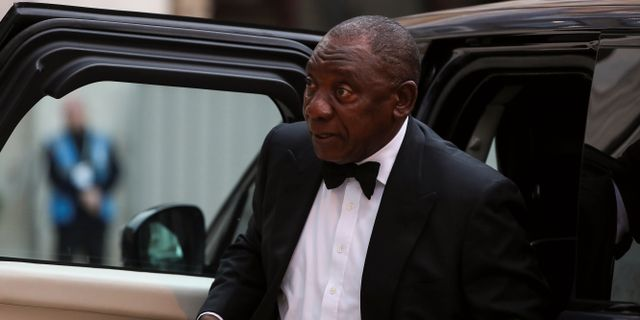 Cyril Ramaphosa under besöket i London.  SIMON DAWSON / TT NYHETSBYRÅN
