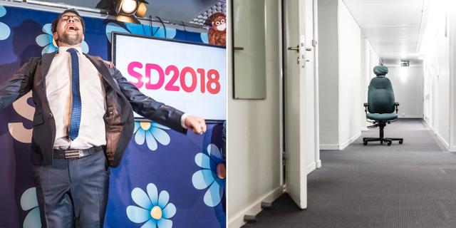 SD:s partiledare Jimmie Åkesson vid valvakan 2018 t.v. TT