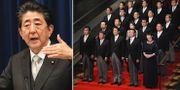 Shinzo Abe och hans nyligen tillsatta regering. TT