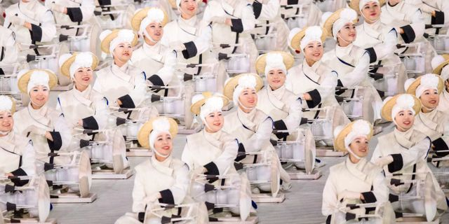 Sydkoreanska musiker under invigningen av OS i Pyeongchang 2018.  JOEL MARKLUND / BILDBYRÅN