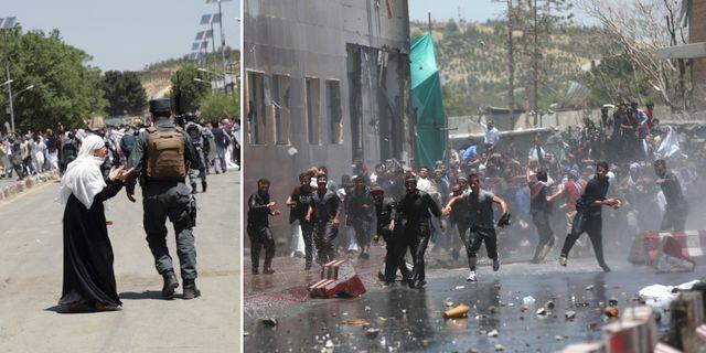 Våldsamheter utbröt i samband med demonstrationer i Kabul. TT