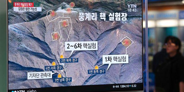 Tv-bilder som visar testplatsen. Ahn Young-joon / TT NYHETSBYRÅN