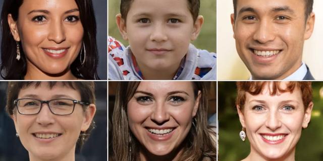 Exempel på fejkade porträtt som tagits fram av sajten. ThisPersonDoesNotExist.com