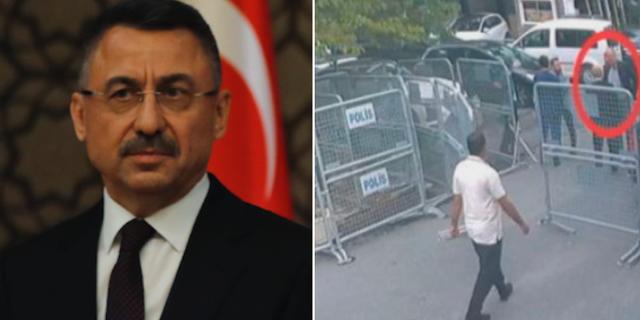 Fuet Oktay och en övervakningsbild som tros visa Jamal Khashoggi innan han gick in på saudiska konsulatet. TT