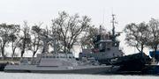 De ukrainska örlogsfartygen som beslagtogs av Ryssland i november.   TT NYHETSBYRÅN