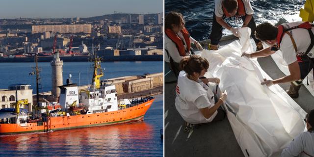 Fartyget i Marseille/medarbetare på Aquarius bärgar en drunknad från Medelhavet. TT