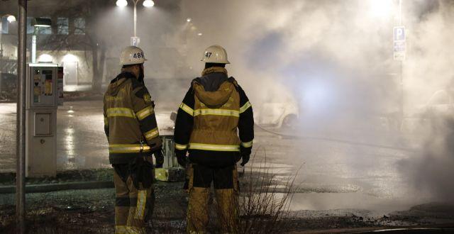 Räddningstjänsten på plats i Rinkeby på måndagen. Christine Olsson/TT / TT NYHETSBYRÅN