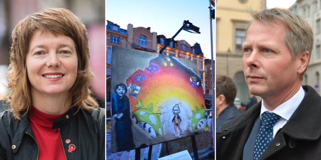 Malin Björk (V) och Christer Nylander (L)  TT