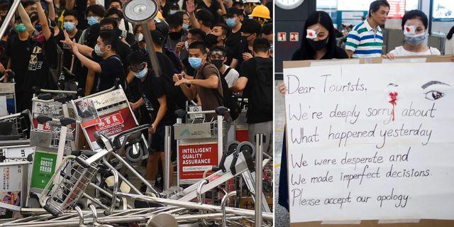 Demonstrationer på flygplatsen igår/plakatet med ursäkten. TT