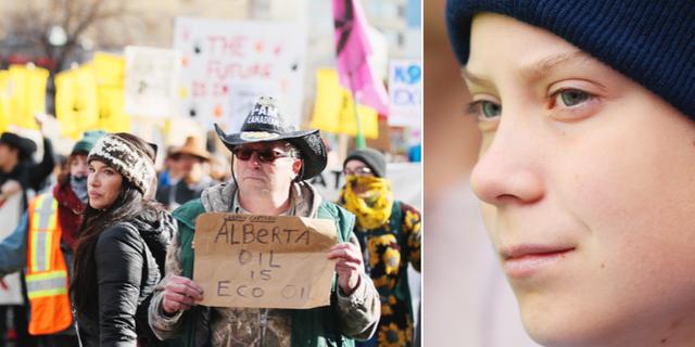 I Alberta mötes Greta Thunberg av människor som demonstrerade för oljeindustrin. TT