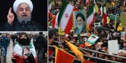 President Hassan Rouhani/En kvinna visar upp en bild på Ayatollah Khomeini/Stora demonstrationer i Teheran under revolutionens årsdag. TT