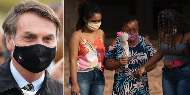 Jair Bolsonaro / Maria Francisca dos Santos (i mitten) begraver sin make som dog i covid-19. TT