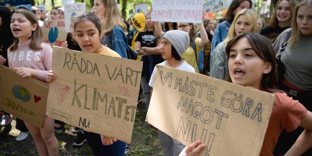 Demonstranter vill att klimatet prioriteras. Arkivbild. Janerik Henriksson/TT / TT NYHETSBYRÅN