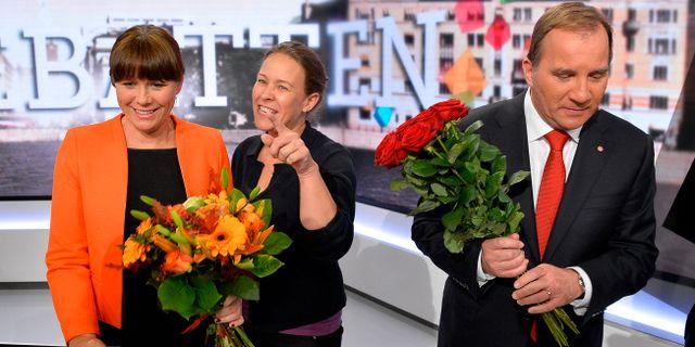 Åsa Romson, Maria Wetterstrand och Stefan Löfven inför valet 2014. ANDERS WIKLUND / TT / TT NYHETSBYRÅN