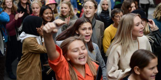 Skolungdomar i Stockholm strejkar för klimatet Stina Stjernkvist/TT / TT NYHETSBYRÅN