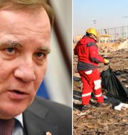 Statsminister Stefan Löfven (S)/platsen där planet kraschade. TT